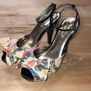 Poetic License Floral Bow Tie Strappy High Heels